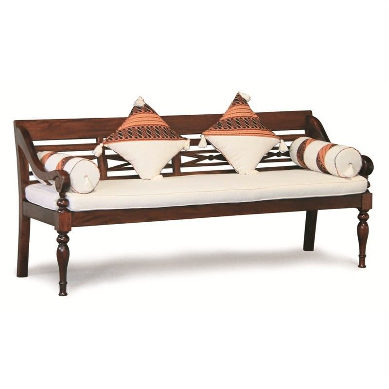 Daydream Solid Mahogany Timber 200cm Bench with Cushions & Pillows - Mahogany