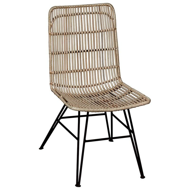 Beau Rattan & Iron Dining Chair, Set of 2