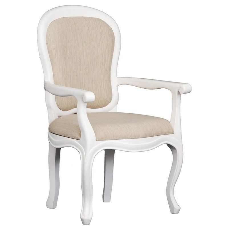 Queen Ann Solid Mahogany Timber Dining Armchair - White