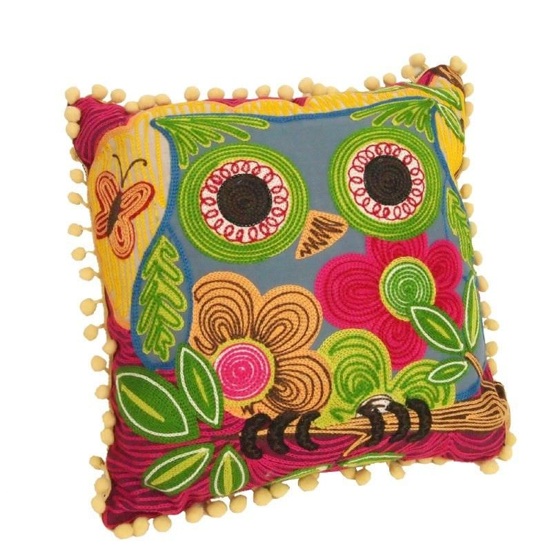 Square Cotton Applique Chain Embroidered Owl Pillow