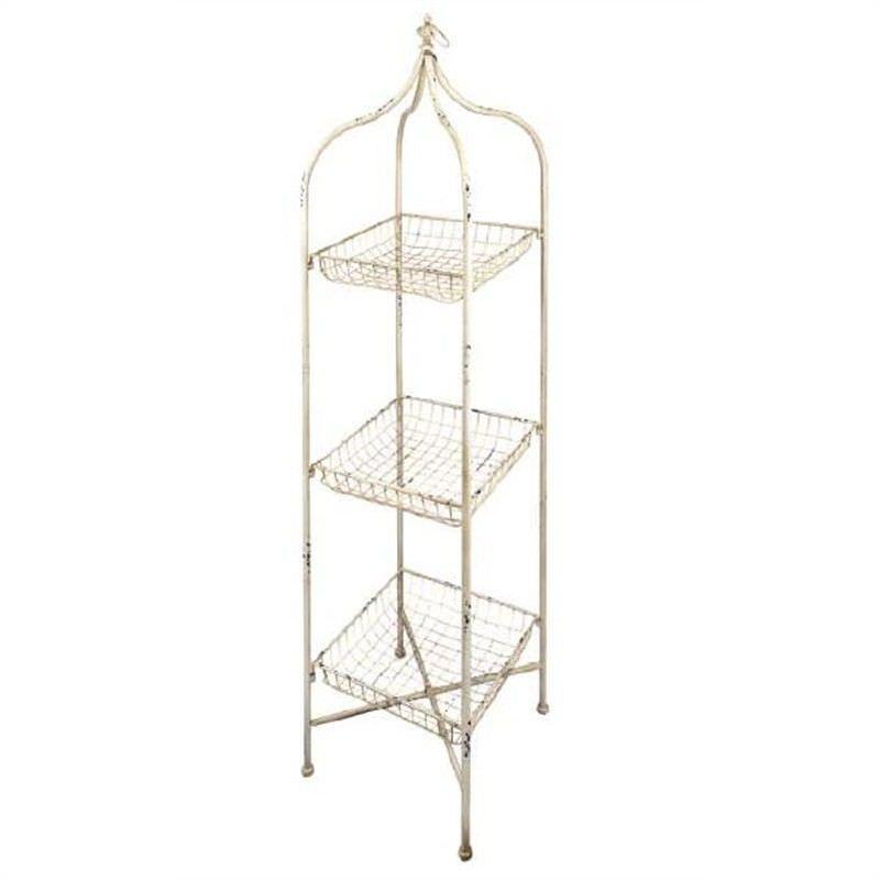 sc 1 st  LivingStyles & Vintage Distressed Metal 3 Tier Basket Storage Unit Large
