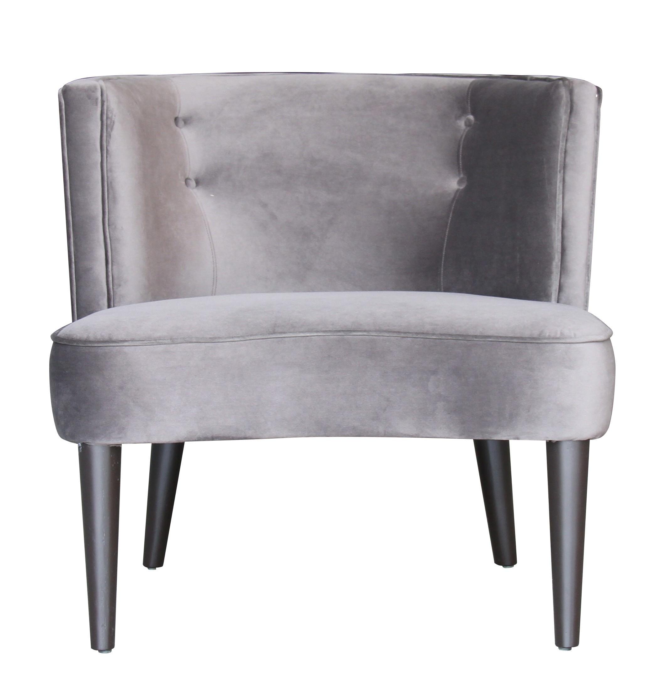 Magellan Velvet Fabric Lounge Chair, Dark Grey