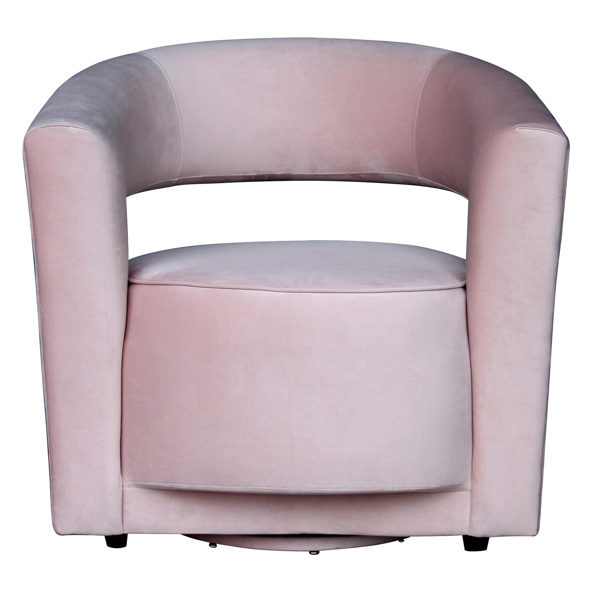 Rochester Velvet Fabric Swivel Lounge Armchair, Pastel Pink
