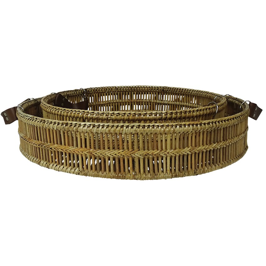 Garove 2 Piece Bamboo Rattan Round Tray Set