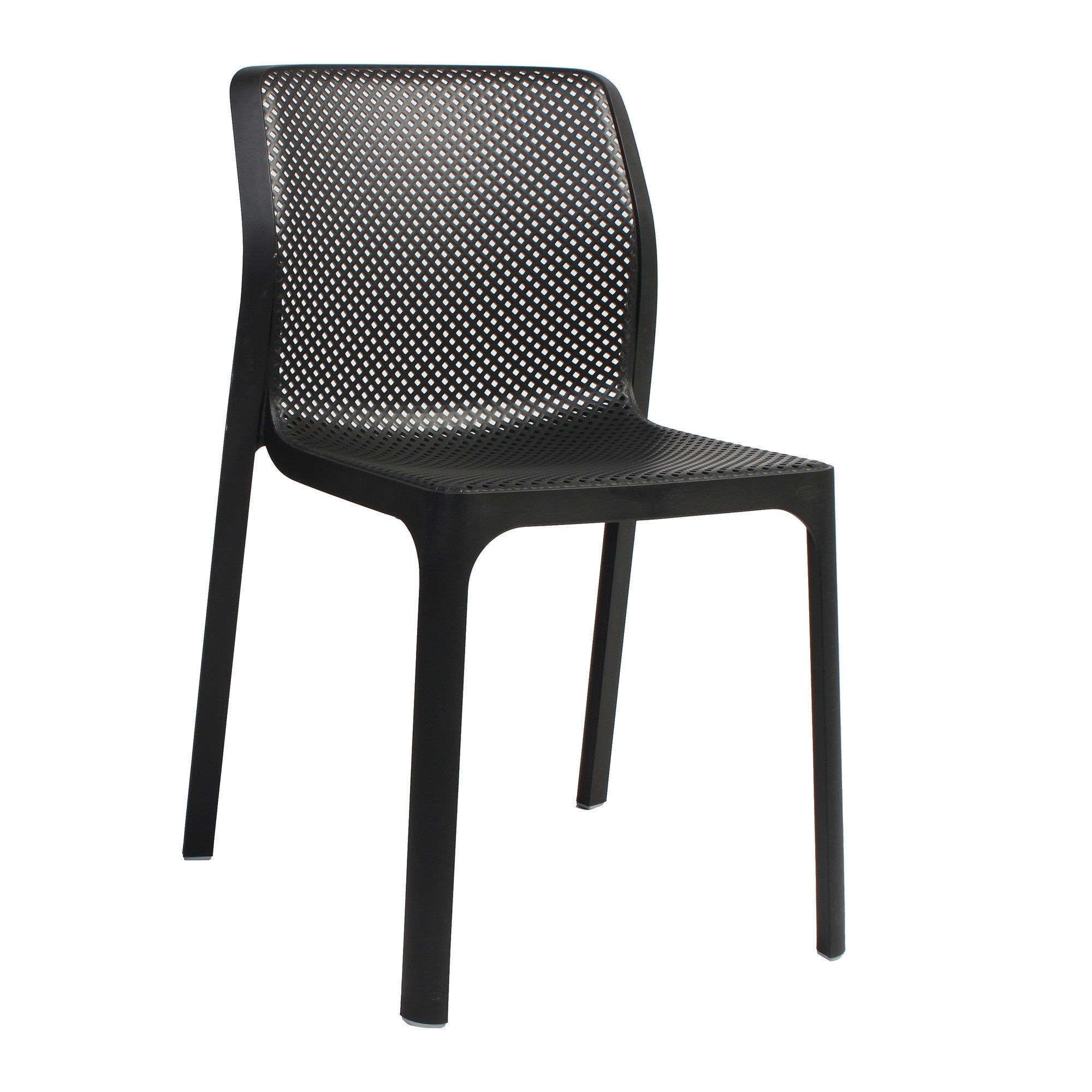 Bit Italian Made Commercial Grade Indoor/Outdoor Dining Chair, Anthracite