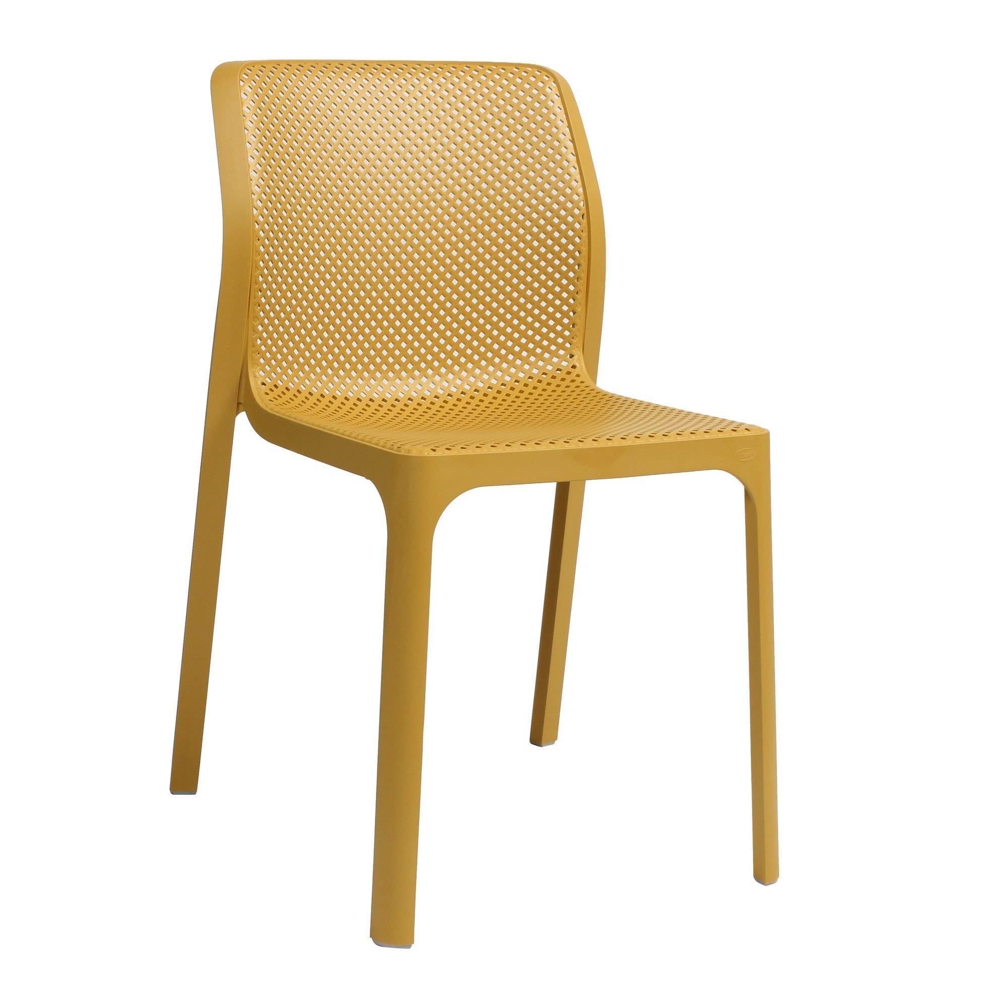 Bit Italian Made Commercial Grade Indoor/Outdoor Dining Chair, Yellow