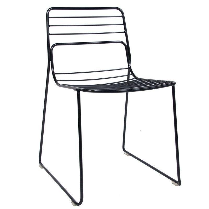 Cage Commercial Grade Steel Stackable Indoor/Outdoor Dining Chair - Black