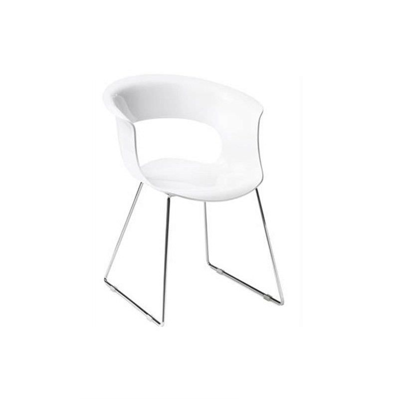 Italian Made Miss B Commercial Grade Sled Chair - White