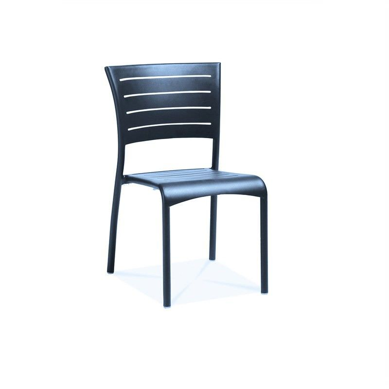 Monaco Commercial Grade Aluminium Outdoor Side Chair - Anthracite