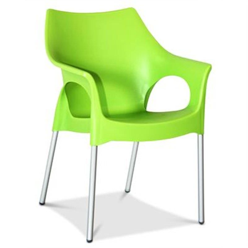 Ola Commercial Grade Indoor/Outdoor Dining Armchair, Light Green