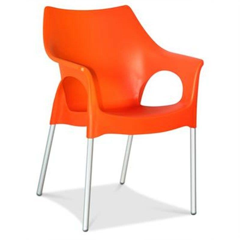 Ola Commercial Grade Indoor/Outdoor Dining Armchair, Orange