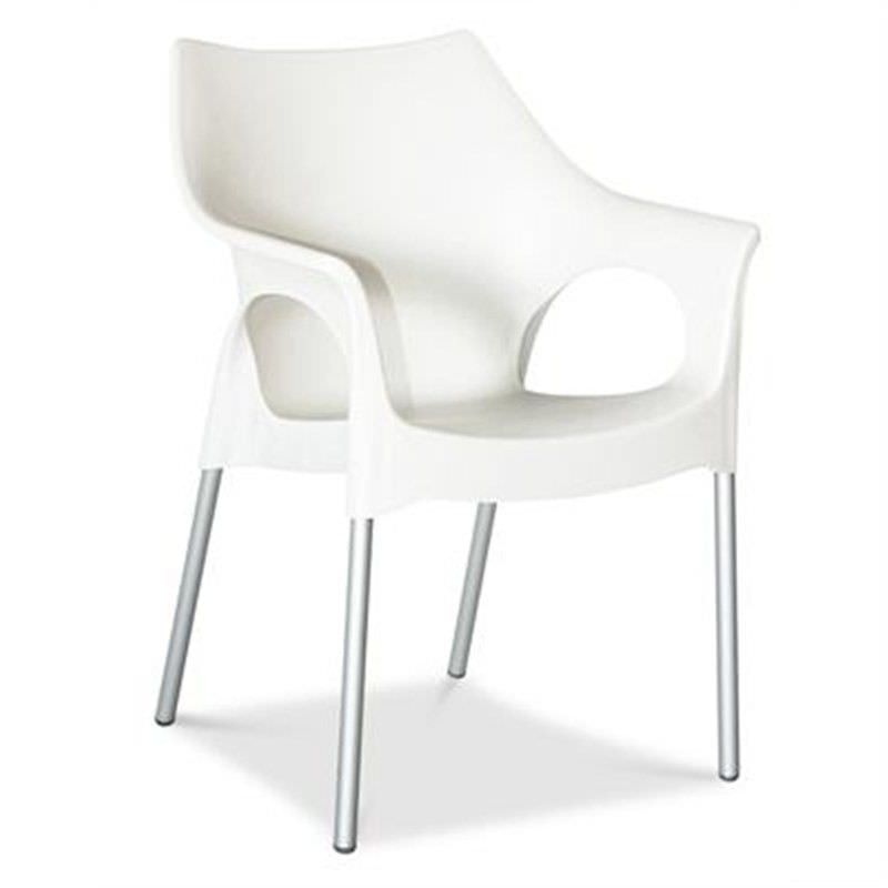 Ola Commercial Grade Indoor/Outdoor Dining Armchair, White