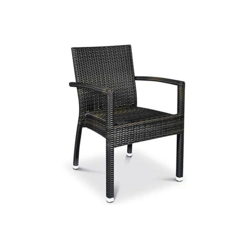 Santiago Commercial Grade Stackable Synthetic Wicker Indoor/Outdoor Dining Armchair - Coffee