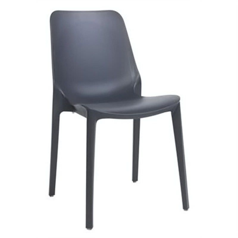Ginevra Italian Made Commercial Grade Indoor/Outdoor Side Chair, Anthracite