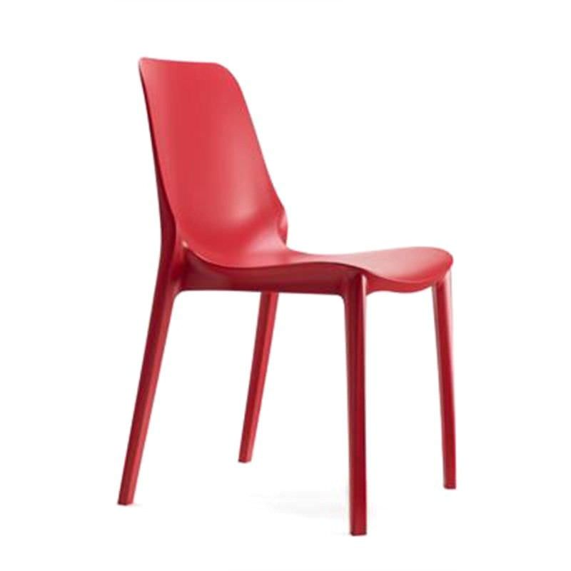 Ginevra Italian Made Commercial Grade Indoor/Outdoor Side Chair, Red