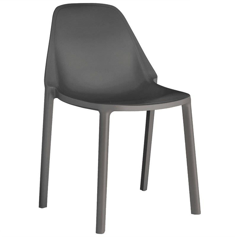 Piu Italian Made Commercial Grade Stackable Indoor/Outdoor Side Chair - Anthracite