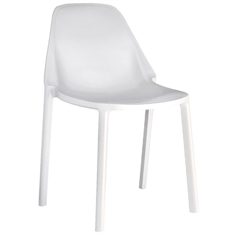 Piu Italian Made Commercial Grade Stackable Indoor/Outdoor Side Chair - White