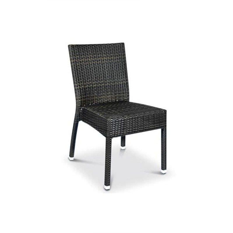 Santiago Commercial Grade Stackable Synthetic Wicker Indoor/Outdoor Dining Chair - Coffee