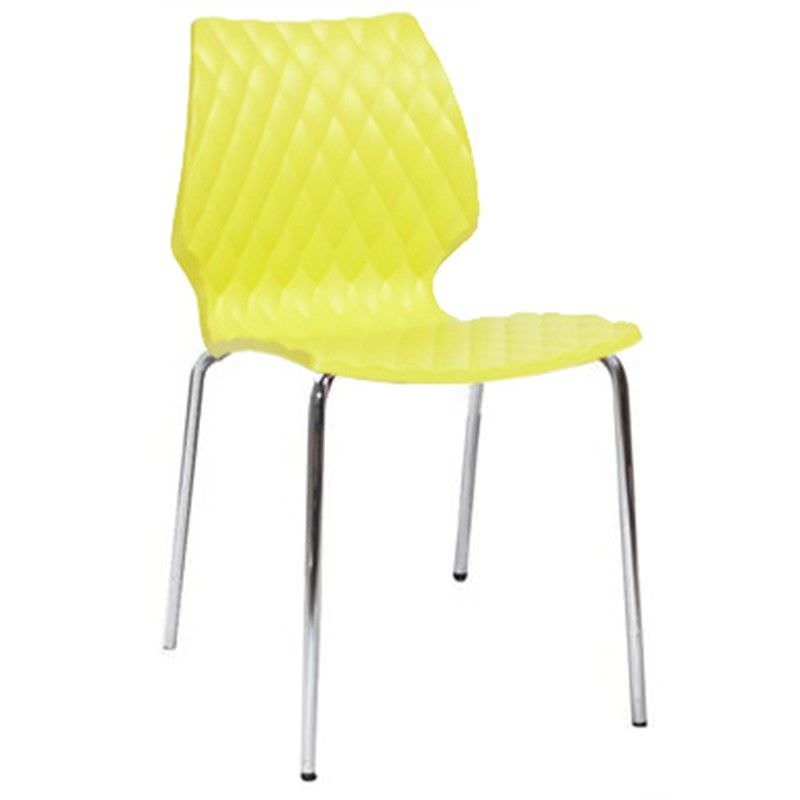 Uni Italian Made Commercial Grade Stackable Dining Chair - Yellow/Silver