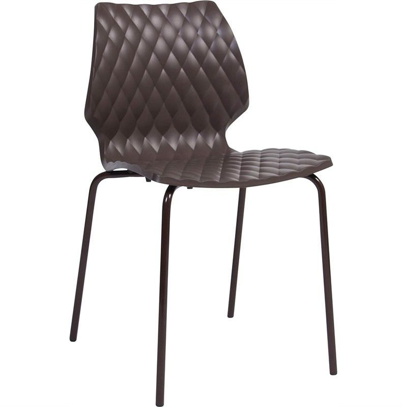 Uni Italian Made Commercial Grade Indoor/Outdoor 4 Leg Dining Chair, Chocolate