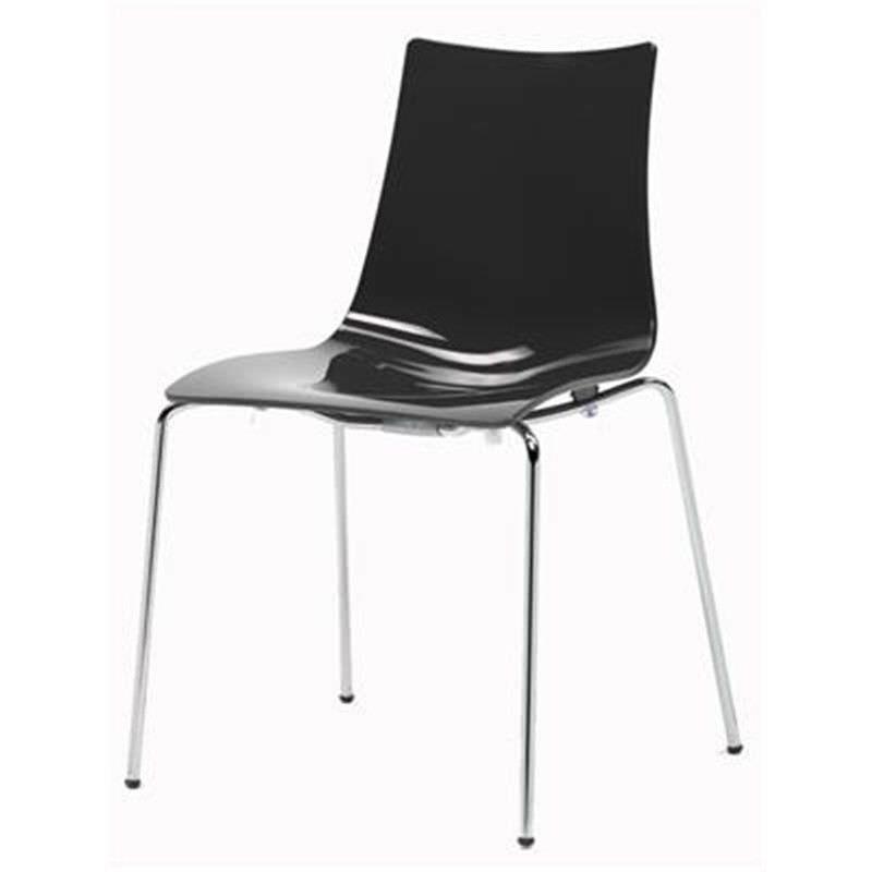 Zebra Bicolore Italian Made Commercial Grade 4 Leg Dining Chair, Black