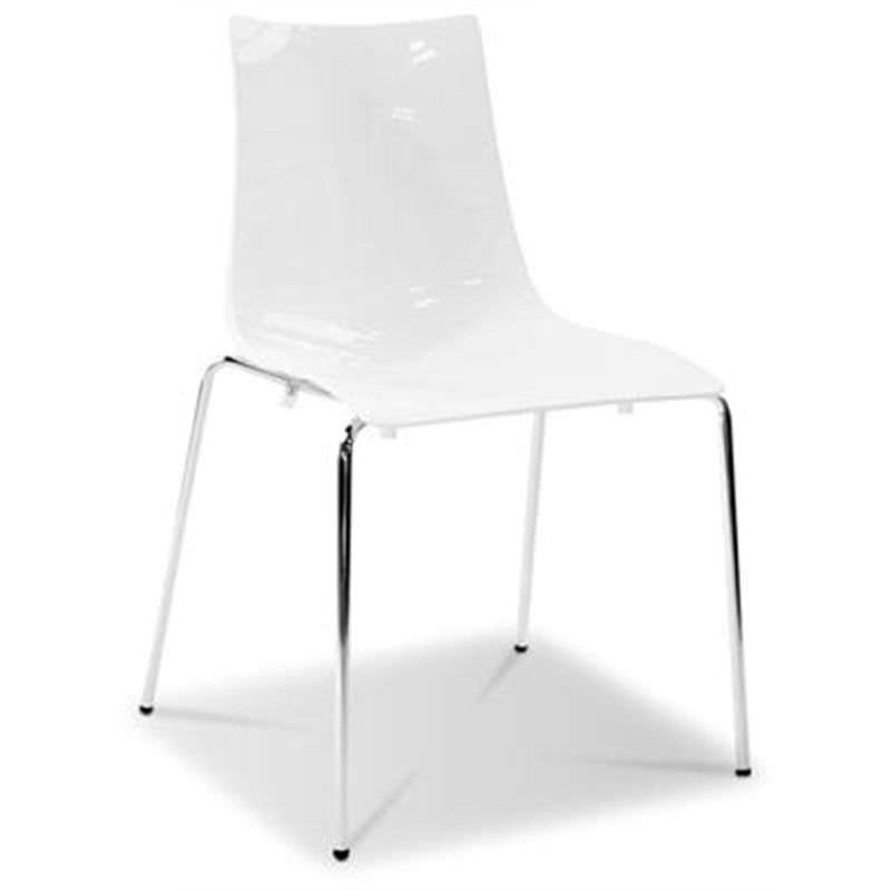 Italian Made Zebra Commercial Grade Side Chair - White