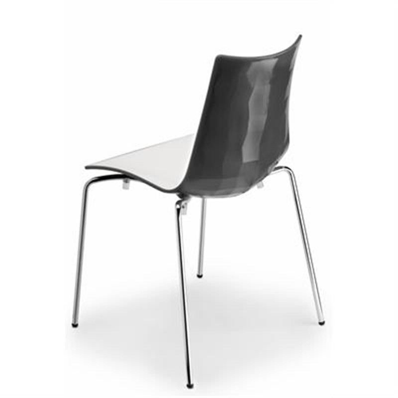Italian Made Zebra Commercial Grade Bicolour Side Chair - White/Charcoal
