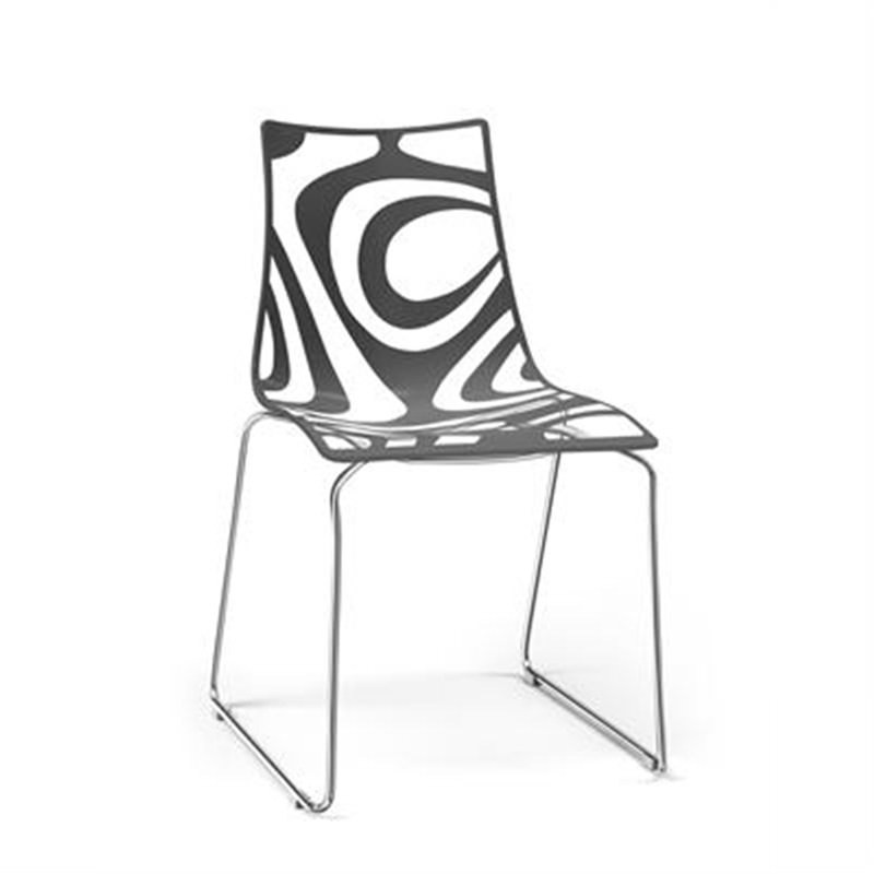Zebra Chair Commercial Grade Wave Sled Chrome Anthracite