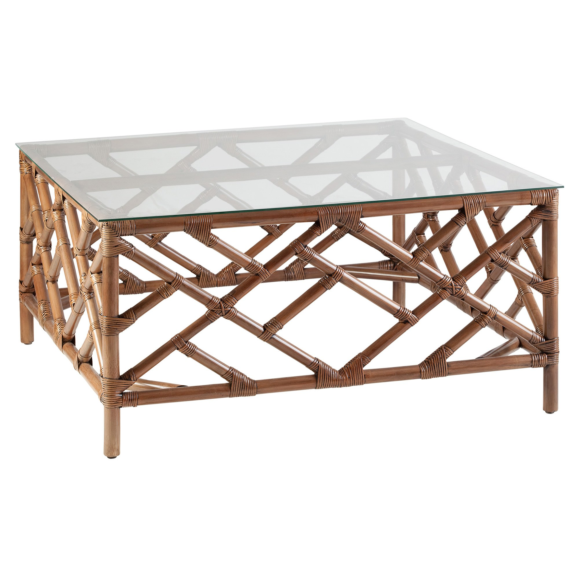 Chippendale Glass Topped Rattan Coffee Table, 100cm