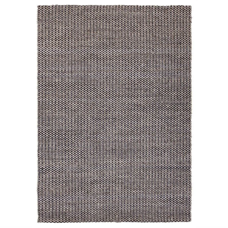 Checkerboard Hand Woven Wool Rug, 200x300cm, Charcoal