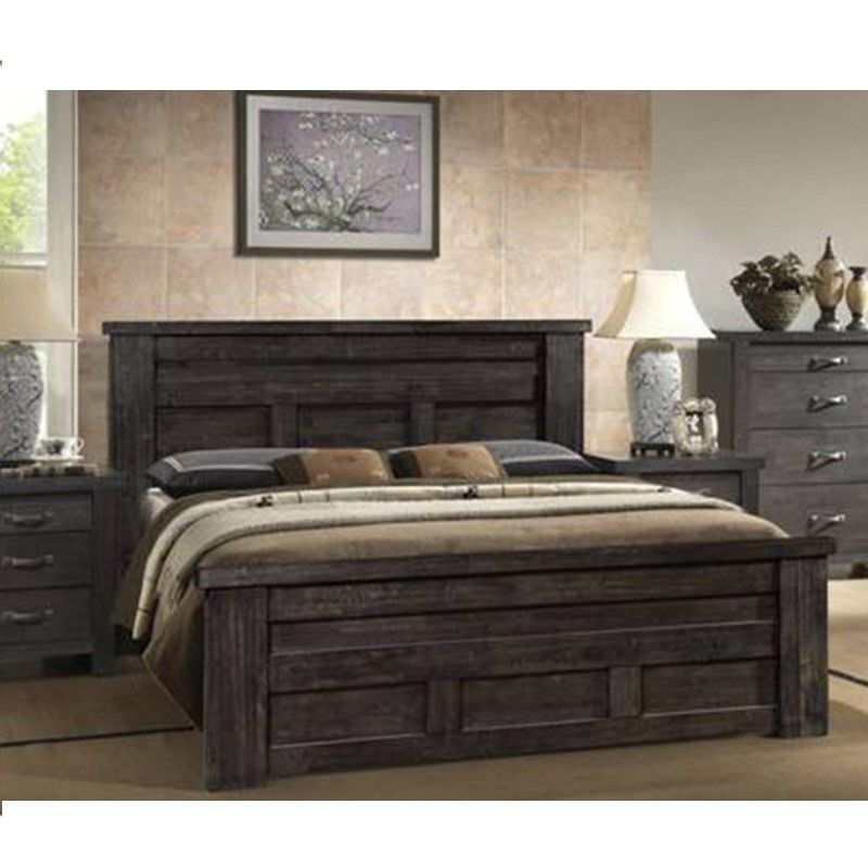 Chicago King Bed in Charcoal Grey