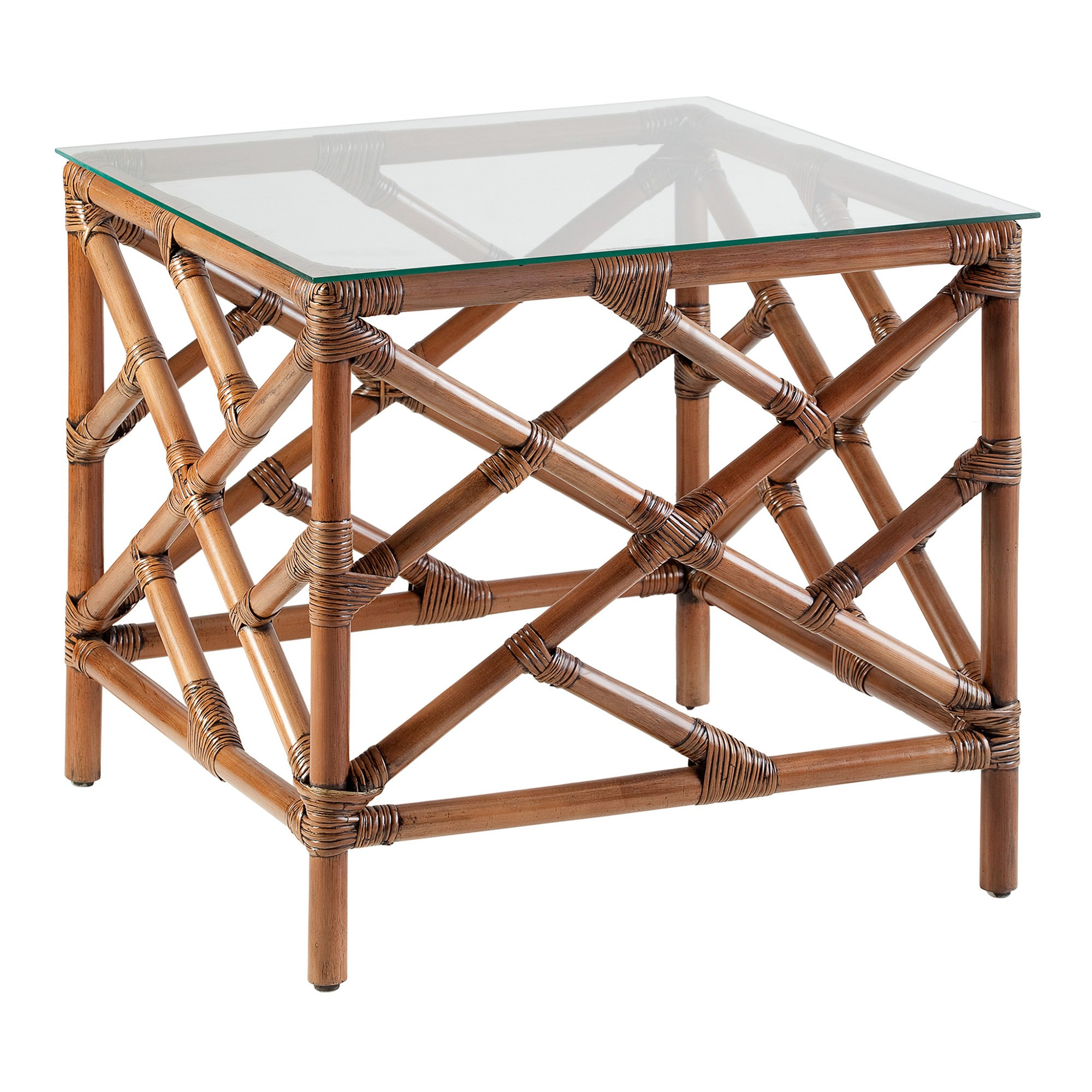 Chippendale Glass Topped Rattan Side Table