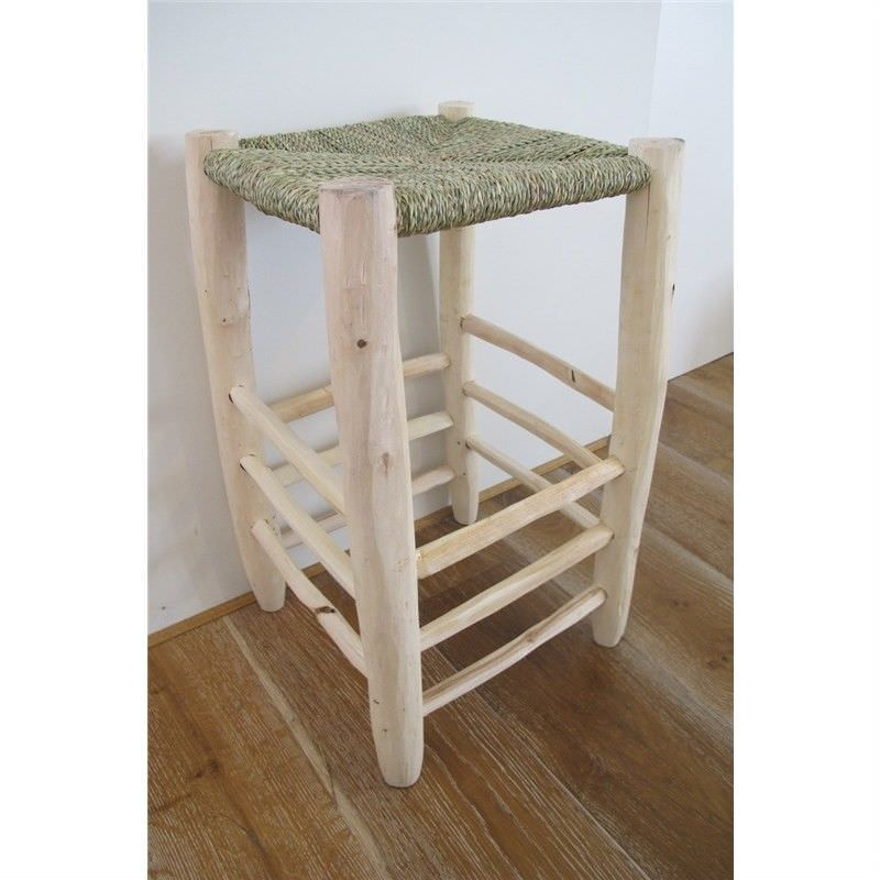 Natural Timber Counter Stool with Palm Seat