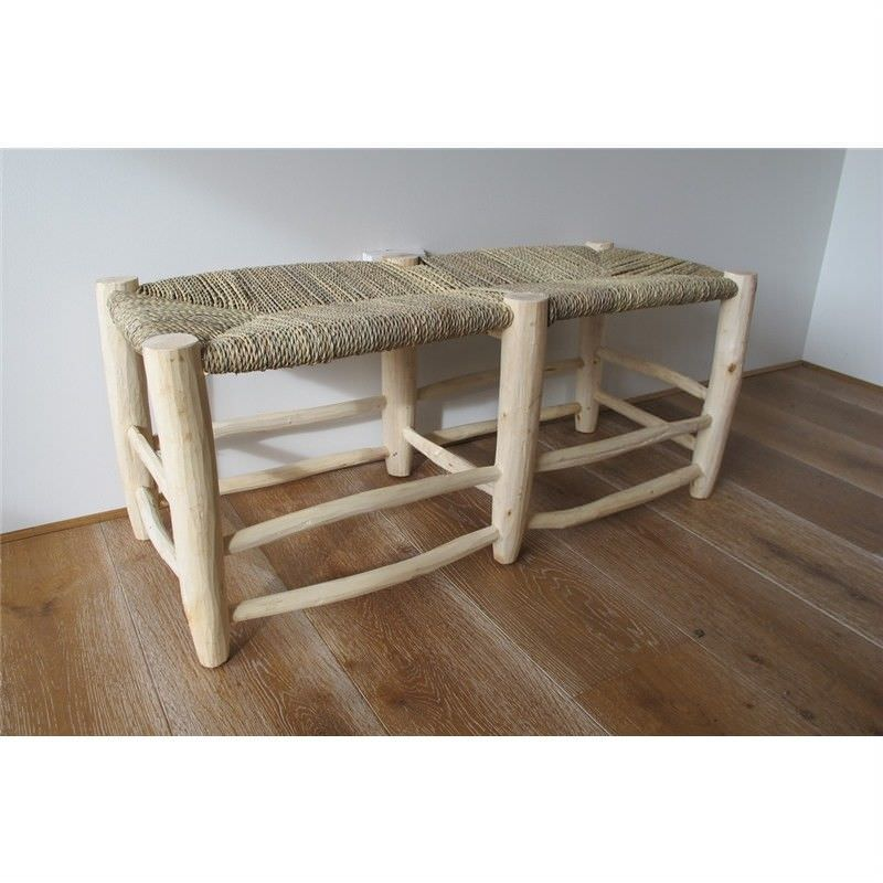 Natural Rough Timber Bench with Palm Rush Seat