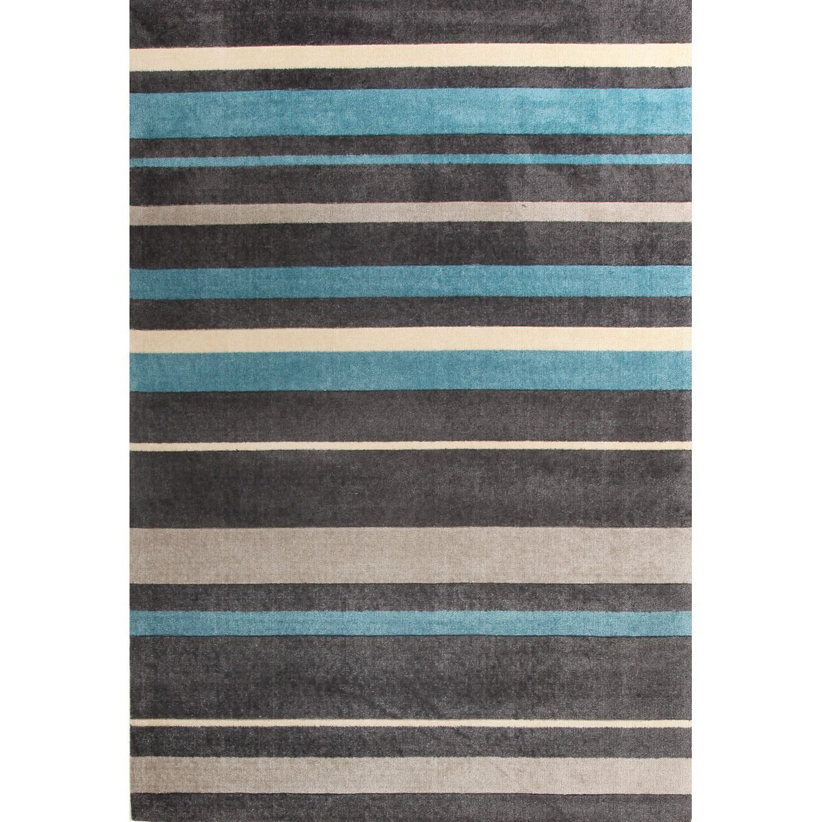 City Stylish Stripe Modern Rug, 280x190cm, Charcoal / Blue