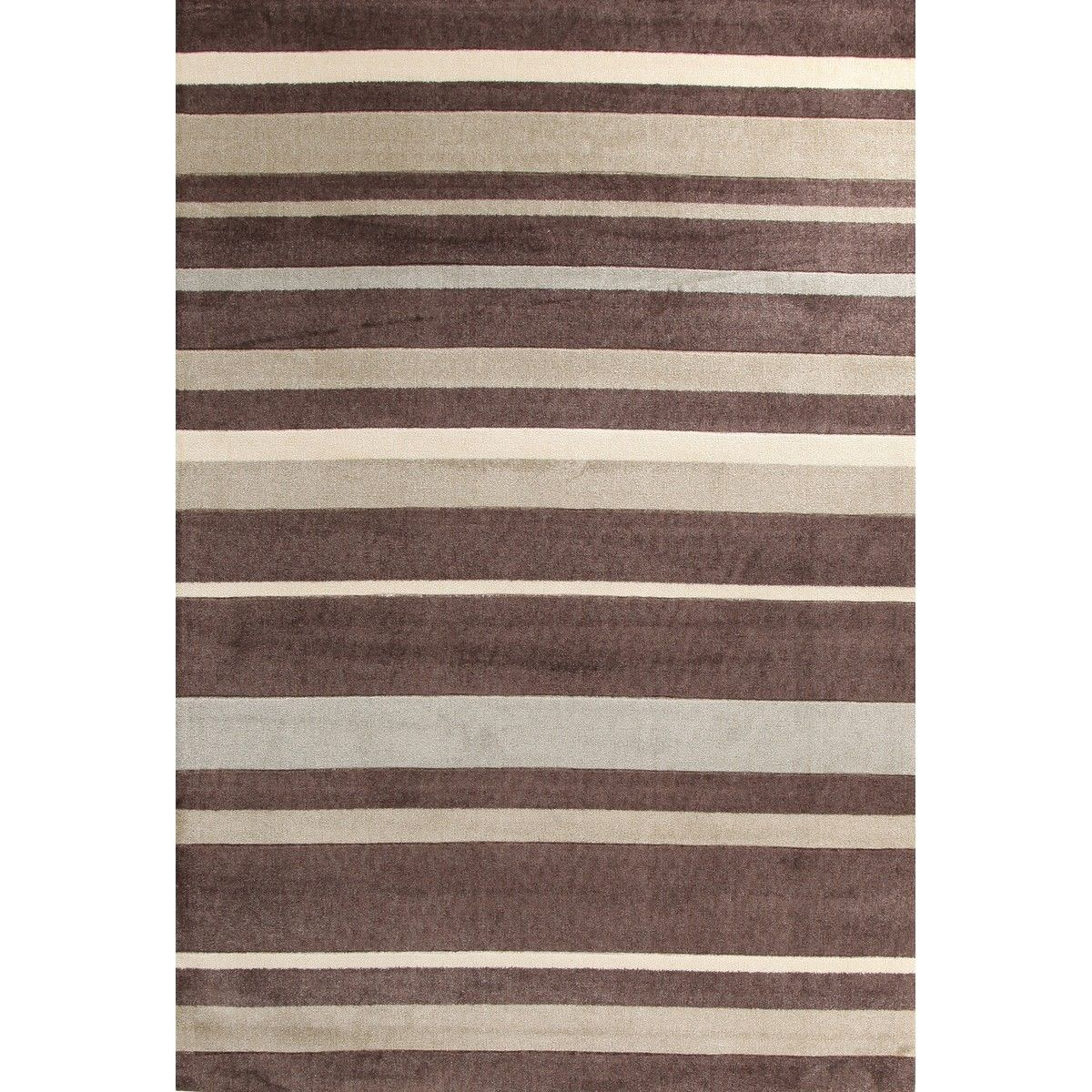 City Stylish Stripe Modern Rug, Beige 160x110cm, Brown / Taupe
