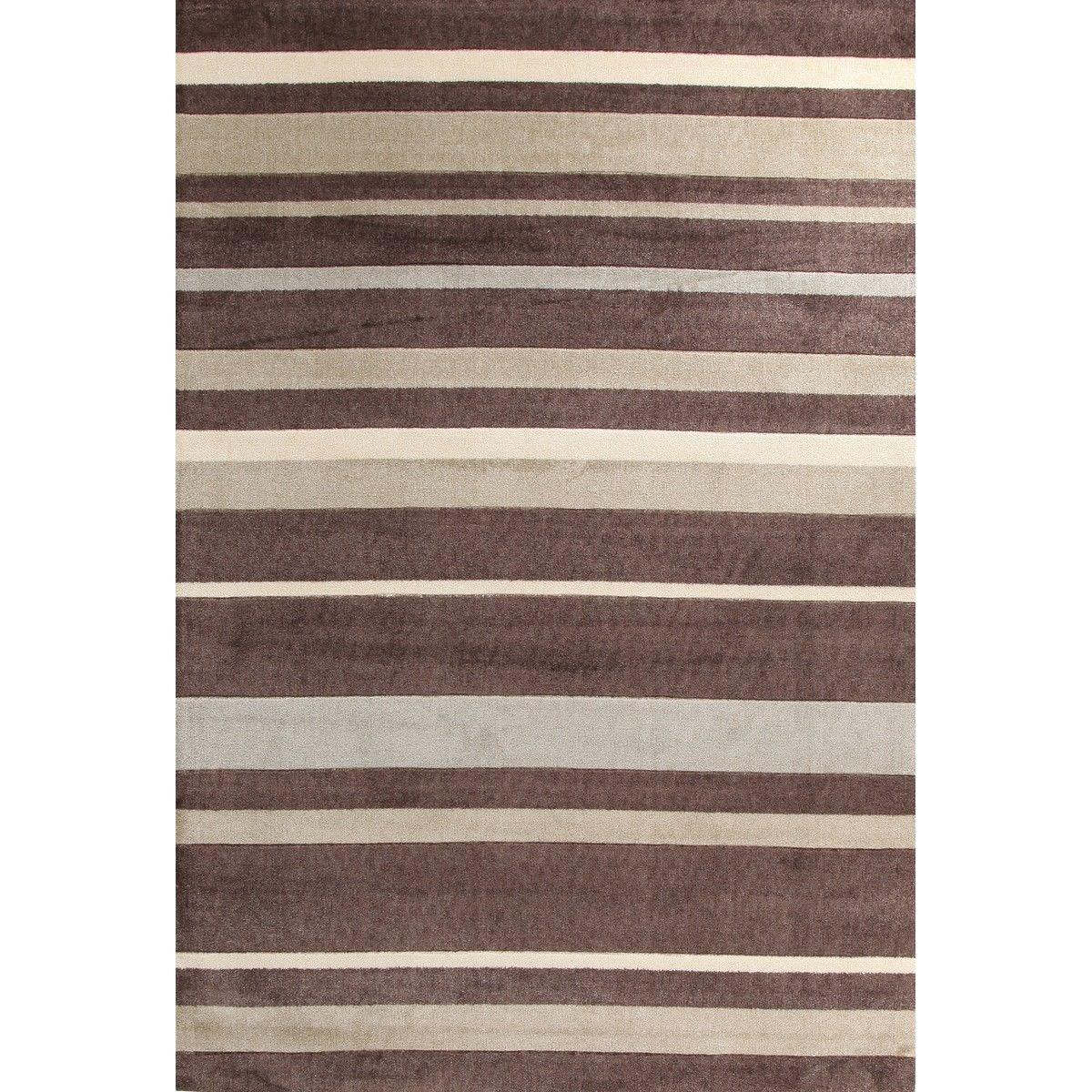 City Stylish Stripe Modern Rug, Beige 280x190cm, Brown / Taupe