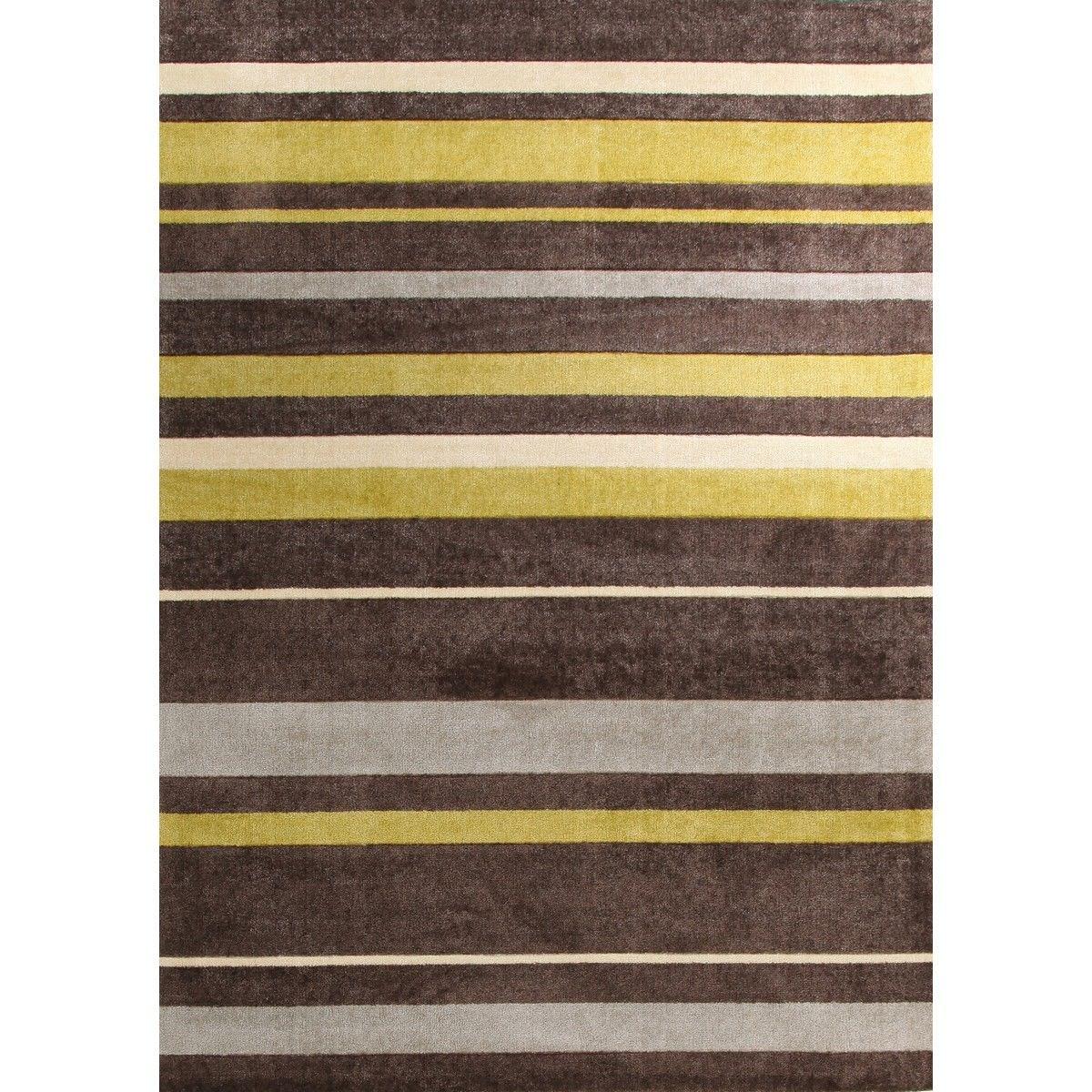 City Stylish Stripe Modern Rug, 220x150cm, Brown / Green