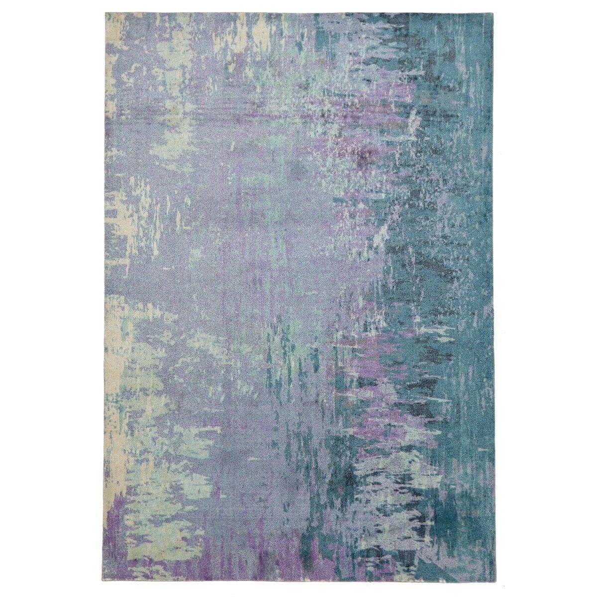 City Monet Modern Rug, 160x110cm, Violet / Teal