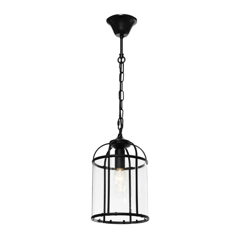 Clovelly Metal & Glass Pendant Light, Small, Black