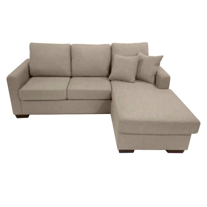 Club Fabric 3 Seater Sofa with Reversible Chaise - Taupe
