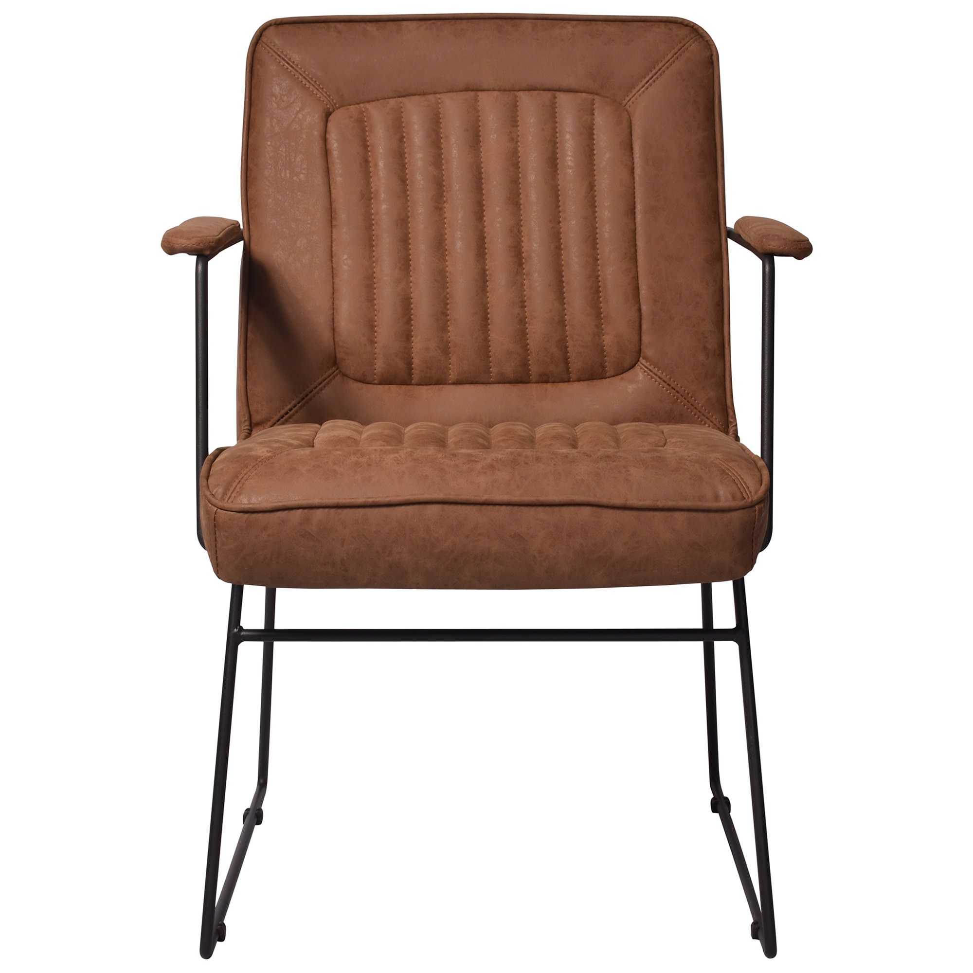 Trewint PU Leather & Metal Armchair, Caramel