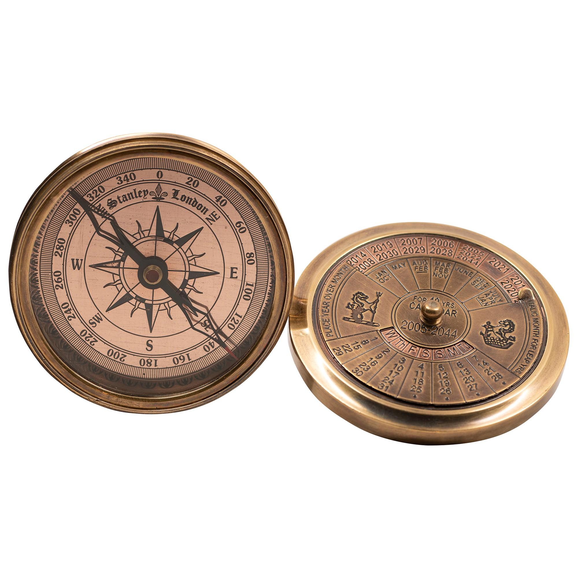 Tralee Solid Brass 40-Year Calander Compass, Brass