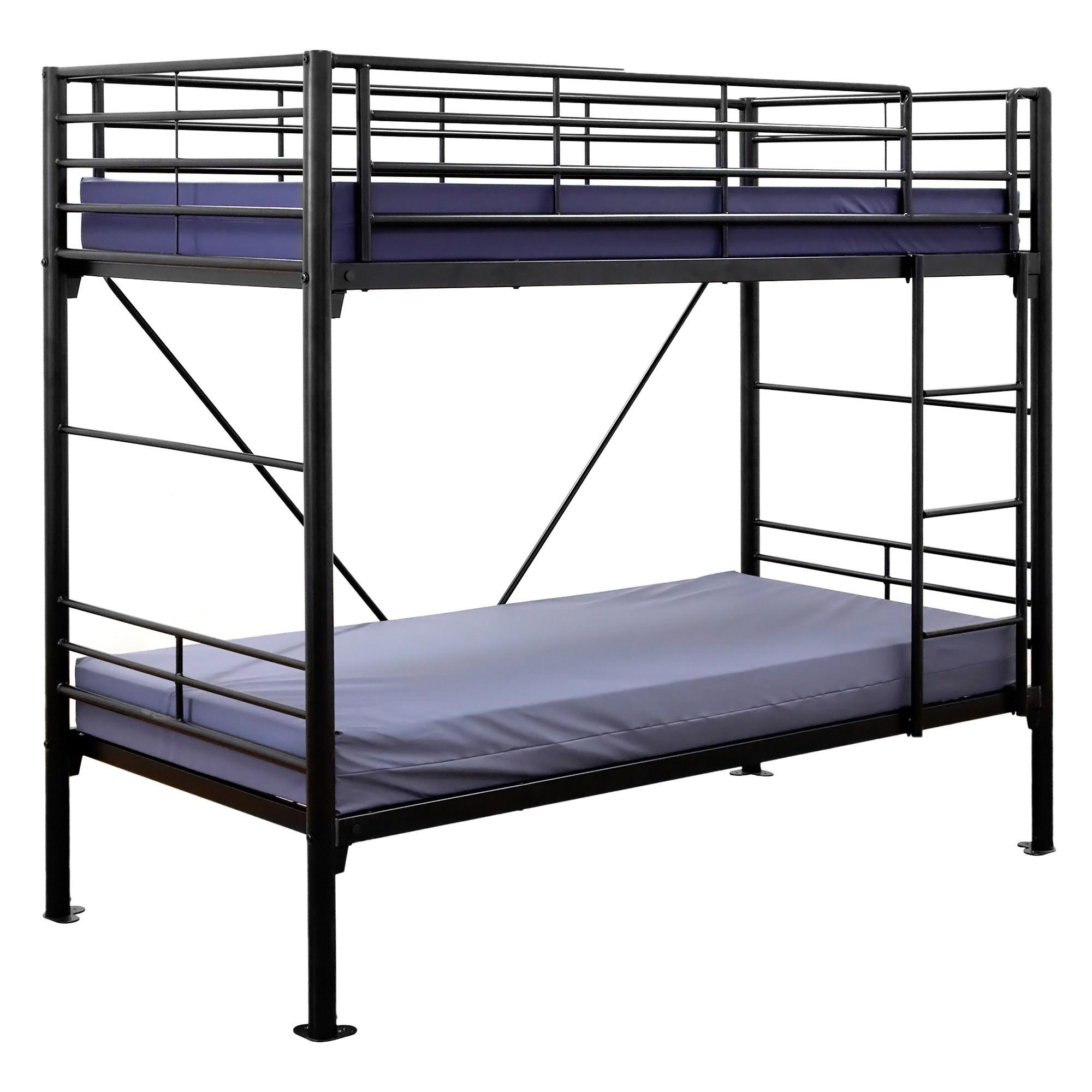 Travers Commercial Grade Metal Bunk Bed, Single, Black