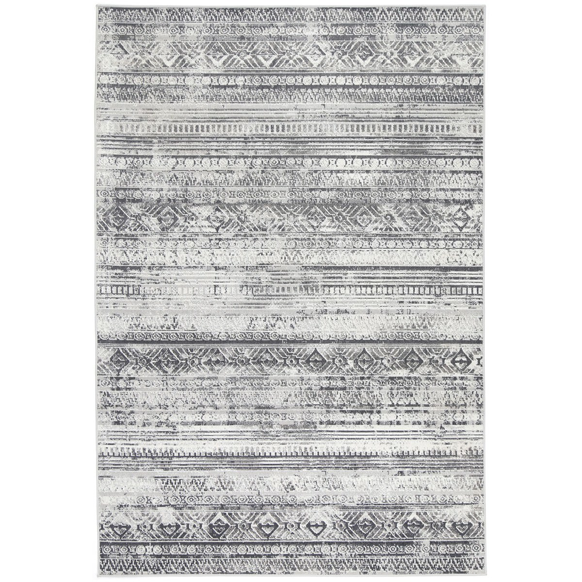 Courtyard Rome Modern Rug, 150x80cm, Grey / Cream