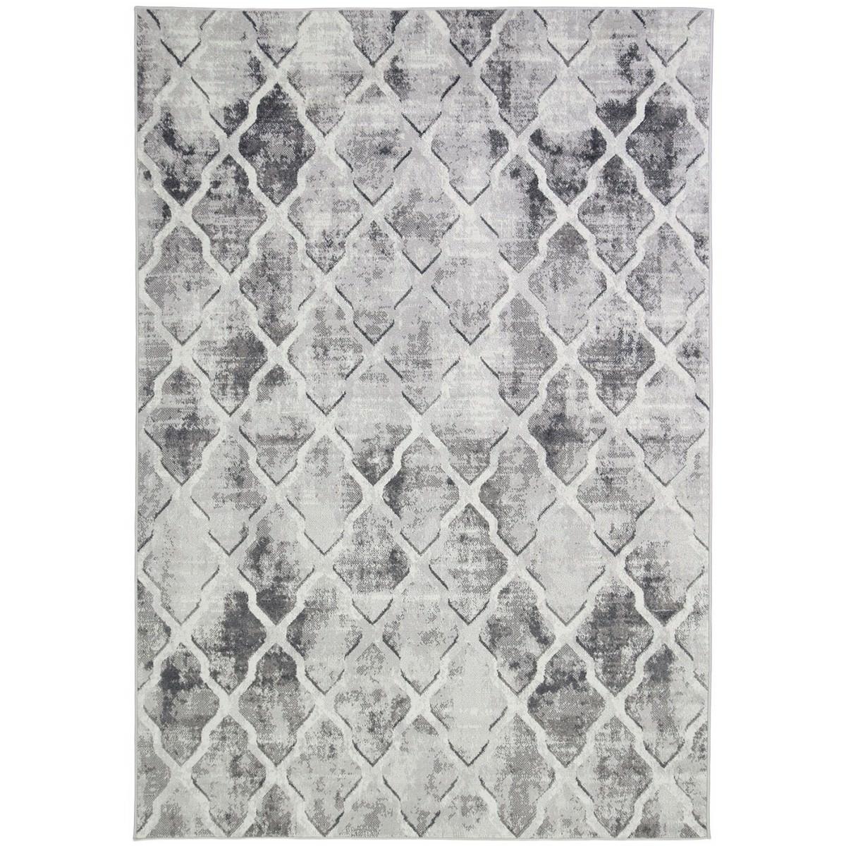 Courtyard Trellis Textured Modern Rug, 150x80cm, Grey