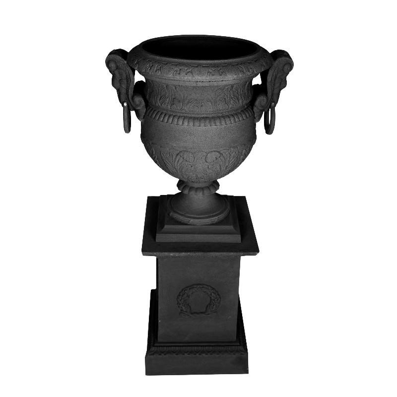 Carmen Cast Iron Garden Urn & Dorchester Pedestal Set, Black