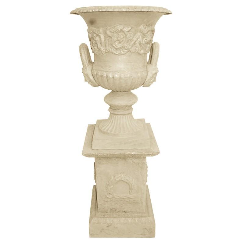 Dorchester Cast Iron Garden Urn & Pedestal Set, Small, Antique White