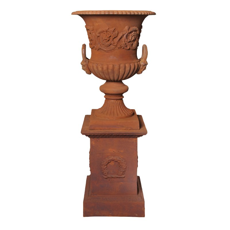 Dorchester Cast Iron Garden Urn & Pedestal Set, Large, Rust
