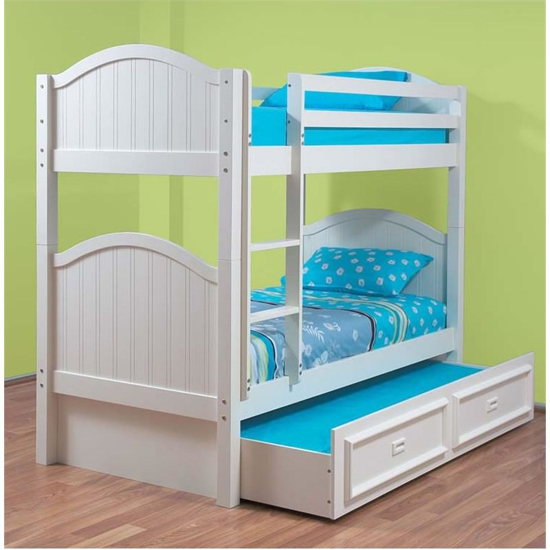 Crest Bunk Bed Single In White And King Single Trundle Bed